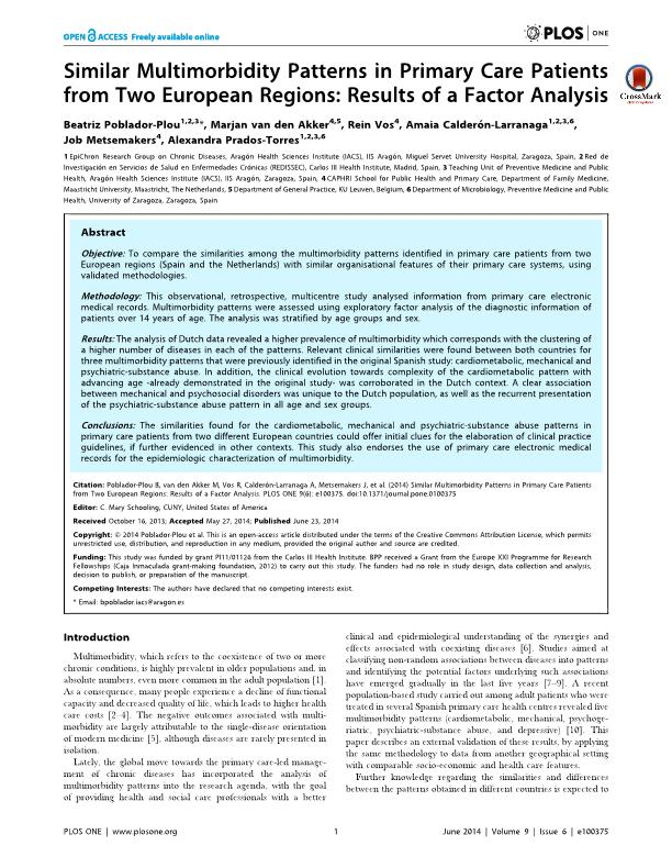 Similar multimorbidity patterns in primary care patients from two European regions: Results of a factor analysis