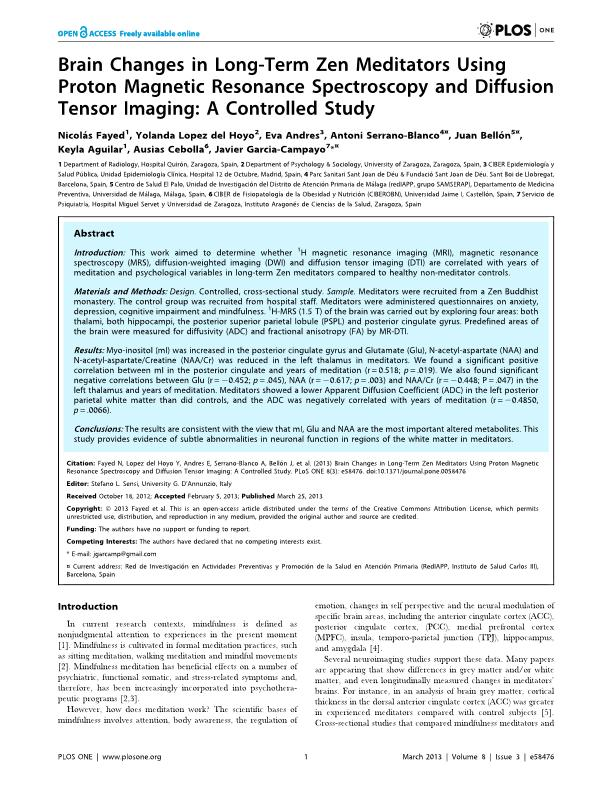 Brain Changes in Long-Term Zen Meditators Using Proton Magnetic Resonance Spectroscopy and Diffusion Tensor Imaging: A Controlled Study
