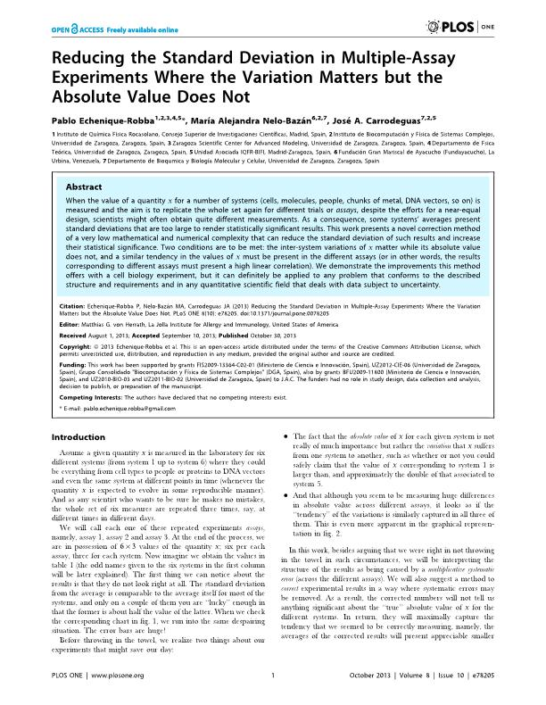 Reducing the standard deviation in multiple-assay experiments where the variation matters but the absolute value does not