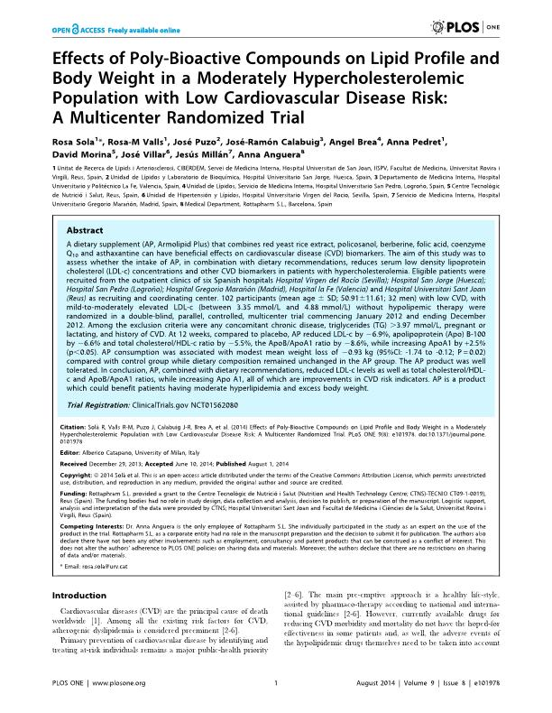 Effects of poly-bioactive compounds on lipid profile and body weight in a moderately hypercholesterolemic population with low cardiovascular disease risk: A multicenter randomized trial