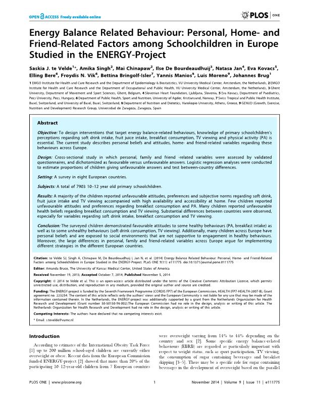 Energy balance related behaviour: Personal, home- and friend-related factors among schoolchildren in Europe studied in the ENERGY-project