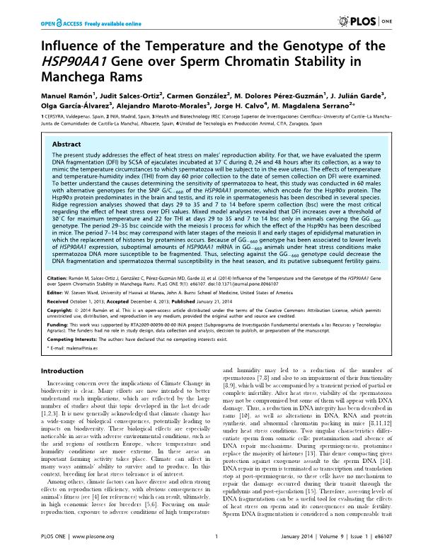 Influence of the temperature and the genotype of the HSP90AA1 gene over sperm chromatin stability in manchega rams