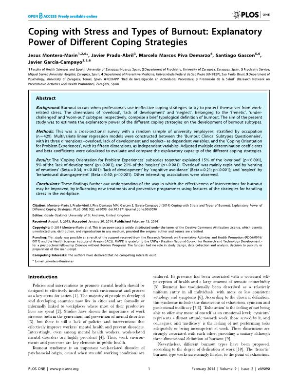 Coping with stress and types of burnout: Explanatory power of different coping strategies