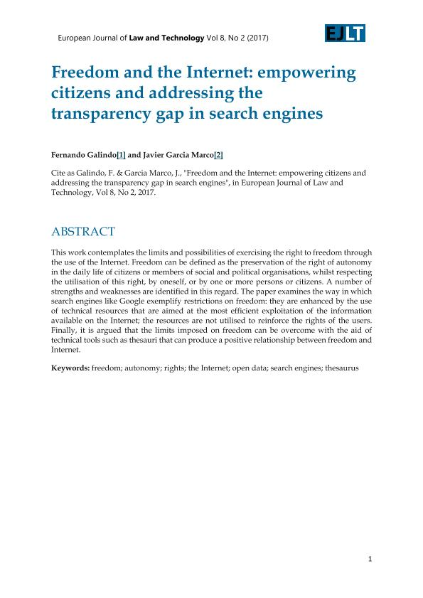 Freedom and the Internet: empowering citizens and addressing the transparency gap in search engines