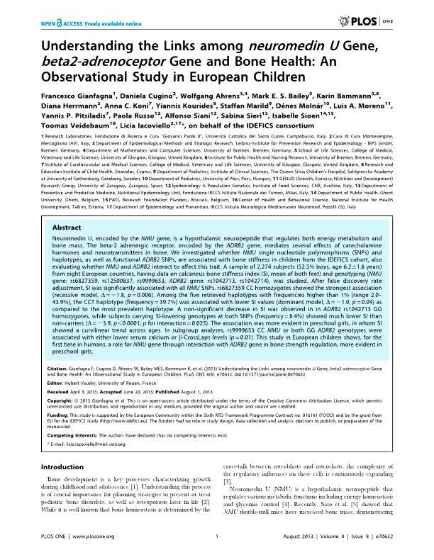 Understanding the Links among neuromedin U Gene, beta2-adrenoceptor Gene and Bone Health: An Observational Study in European Children