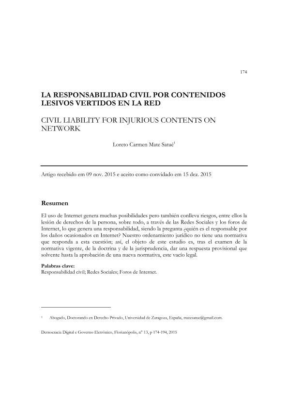 La responsabilidad Civil por contenidos lesivos vertidos en la Red