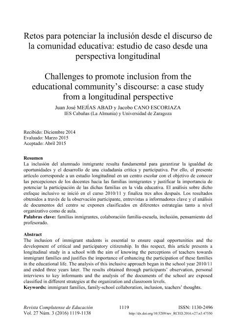 Retos para potenciar la inclusión desde el discurso de la comunidad educativa: estudio de caso desde una perspectiva longitudinal.