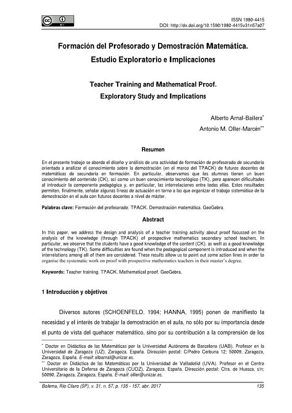 Formación del Profesorado y Demostración Matemática. Estudio Exploratorio e Implicaciones