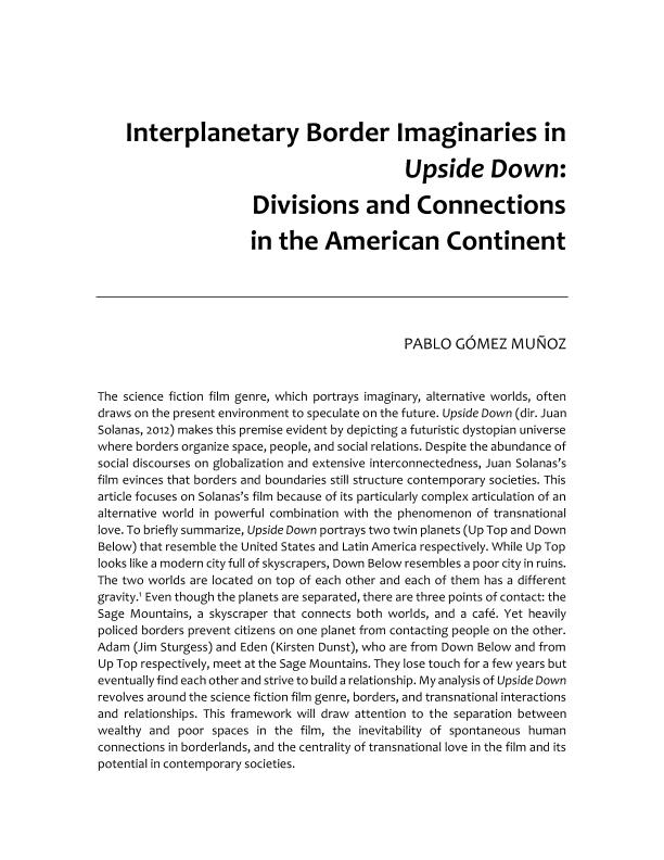 interplanetary border imaginaries in upside down: divisions and connections in the american continent