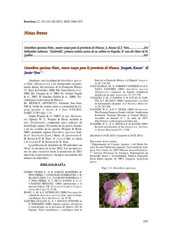 Oenothera speciosa Nutt., nuevo taxon para la provincia de Huesca. Bouteloua 22: 241-242.