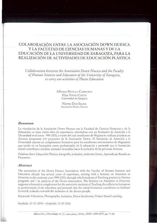 Colaboración entre la Asociación Down Huesca y la Facultad de Ciencias Humanas y de la Educación de la Universidad de Zaragoza, para la realización de actividades de educación plástica