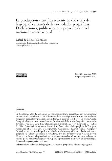 La producción científica reciente en didáctica de la geografía a través de las sociedades geográficas. Declaraciones, publicaciones y proyectos a nivel nacional e internacional