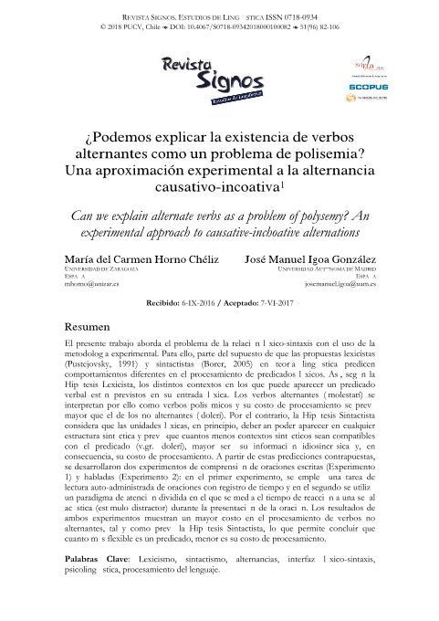 ¿Podemos explicar la existencia de verbos alternantes como un problema de polisemia? Una aproximación experimental a la alternancia causativo-incoativa