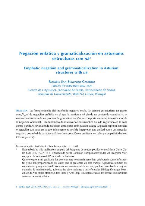 Negación enfática y gramaticalización en asturiano: estructuras con