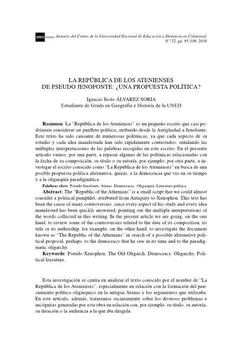 La República de los Atenienses de Pseudo Jenofonte: ¿Una propuesta política?