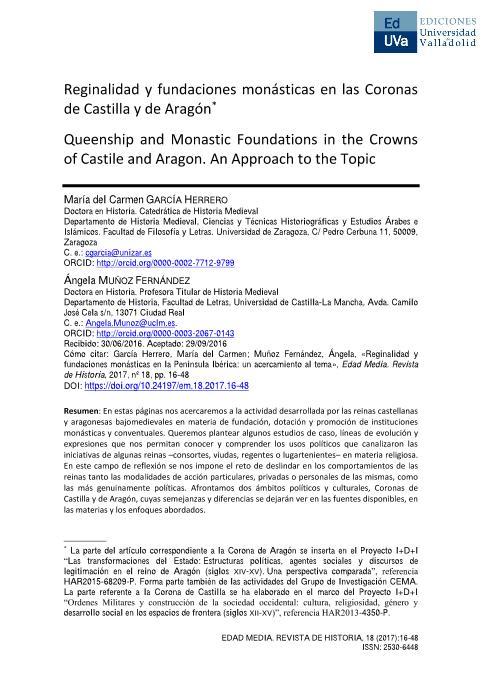 Reginalidad y fundaciones monásticas en las Coronas de Castilla y de Aragón