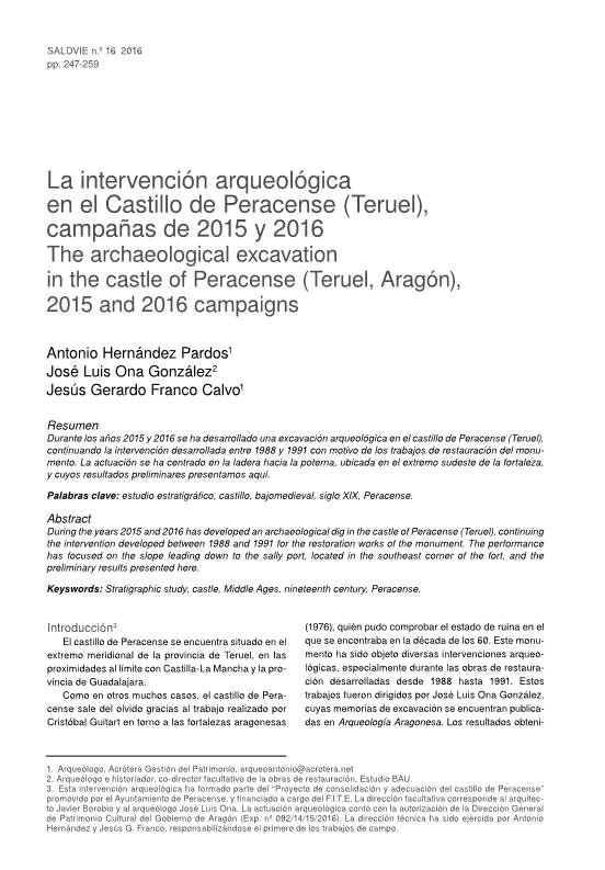 La intervención arqueológica en el Castillo de Peracense (Teruel). Campañas de 2015 y 2016