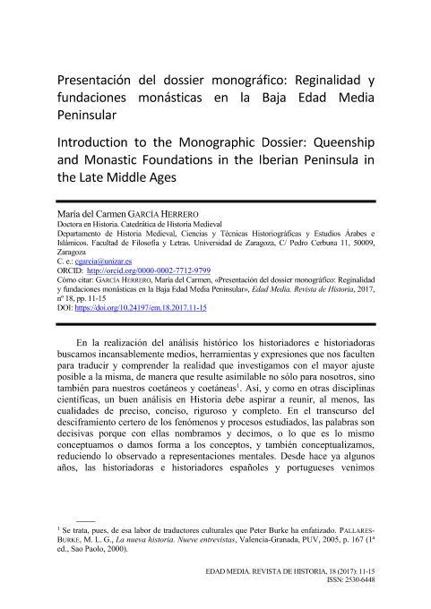 Presentación del dossier monográfico: Reginalidad y fundaciones monásticas en la Baja Edad Media Peninsular