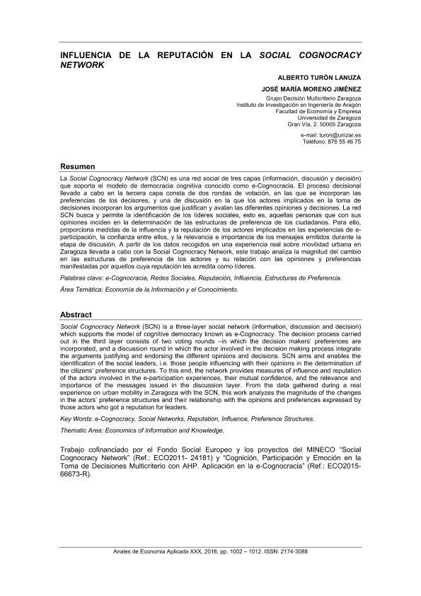 Influencia de la Reputación en la Social Cognocracy Network