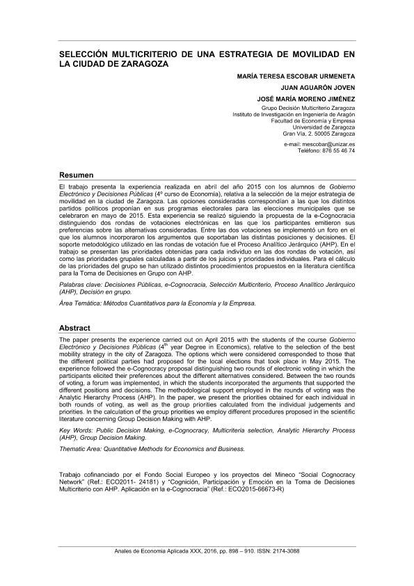 Selección Multicriterio de una Estrategia de Movilidad en la Ciudad de Zaragoza