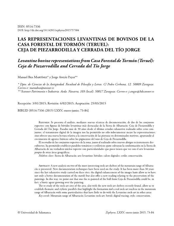 Las representaciones levantinas de bovinos de la casa forestal de Tormón (Teruel): Ceja de Piezarrodilla y Cerrada del tío Jorge