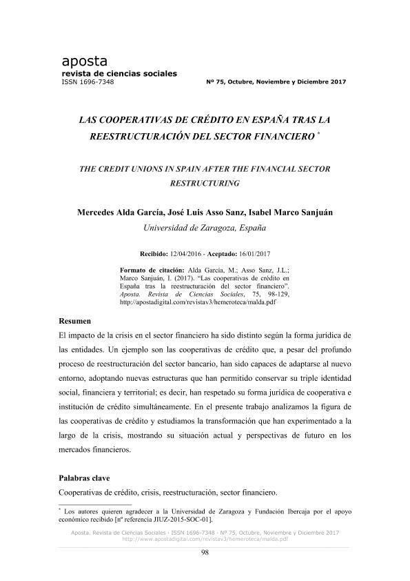 Las cooperativas de crédito en España tras la reestructuración del sector financiero