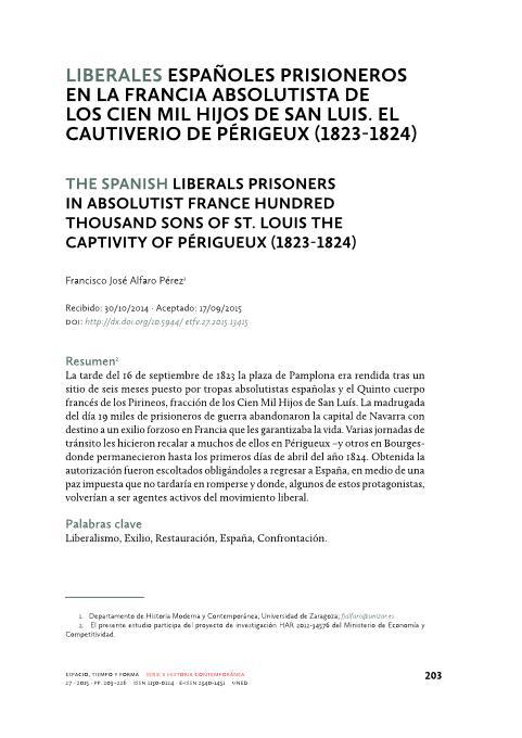 Liberales españoles prisioneros en la Francia absolutista de los Cien mil hijos de San Luis. El cautiverio de Perigeux (1823-1824)