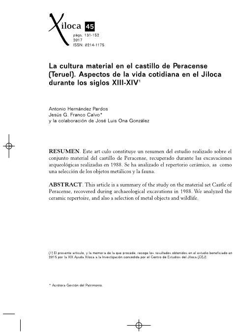 La cultura material en el castillo de Peracense (Teruel). Aspectos de la vida cotidiana en el Jiloca durante los siglos XIII-XIV