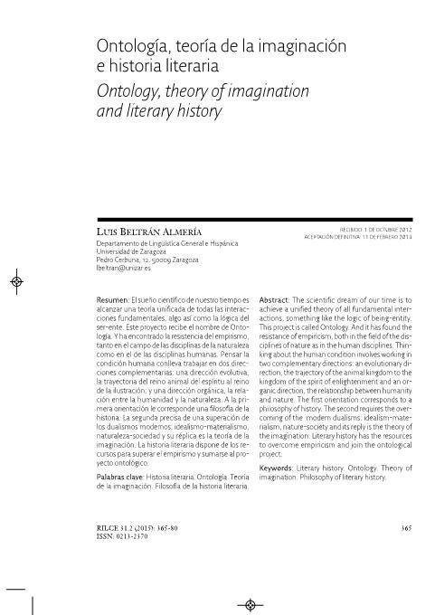 Ontología, teoría de la imaginación e historia literaria