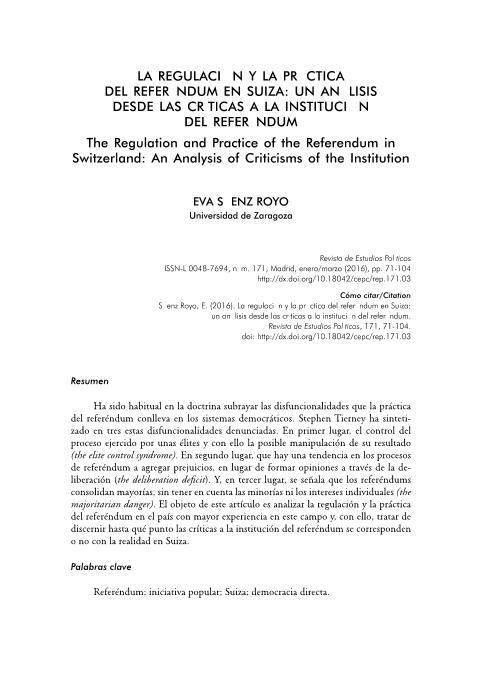 La regulación y la práctica del referéndum en Suiza: un análisis desde las críticas a la institución del referéndum
