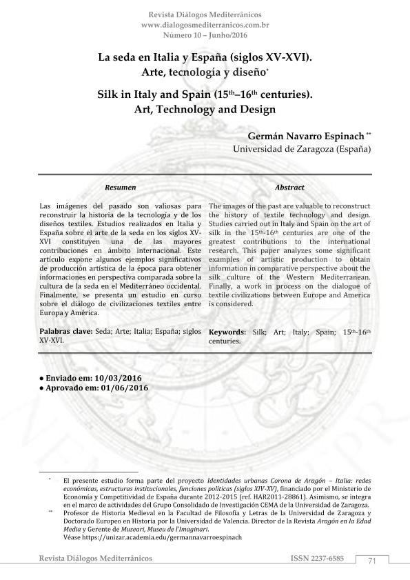La seda en Italia y España (siglos XV-XVI). Arte, tecnología y diseño.