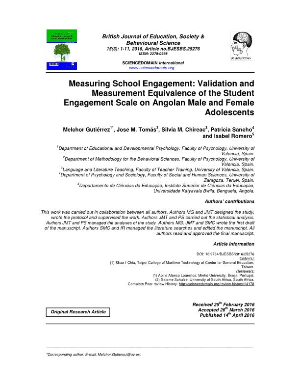 Measuring School Engagement: Validation and Measurement Equivalence of the Student Engagement Scale on Angolan Male and Female Adolescents