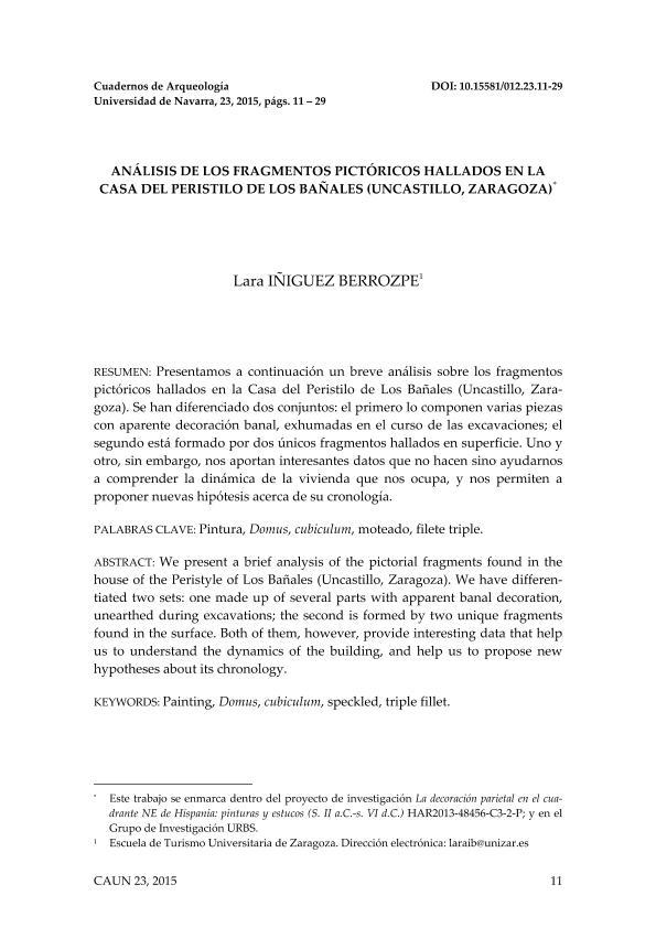 Análisis de los fragmentos pictóricos hallados en la casa del peristilo de Los Bañales (Uncastillo, Zaragoza)
