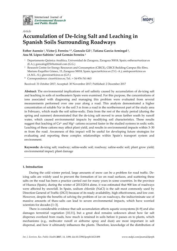 Accumulation of De-Icing Salt and Leaching in Spanish soils surrounding roadwayss