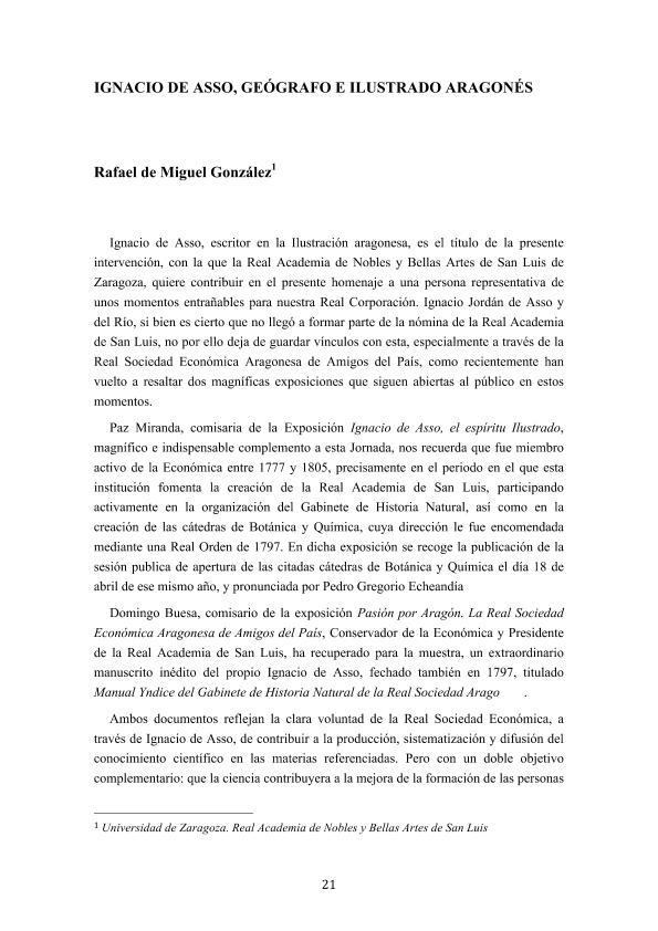 Ignacio de Asso, geógrafo e ilustrado aragonés