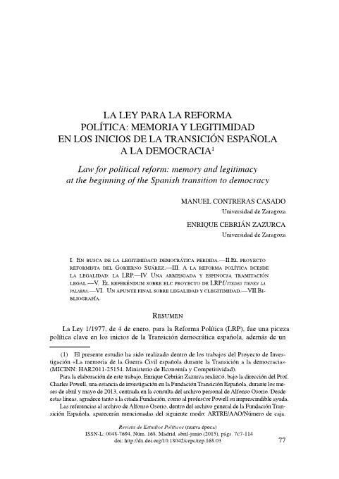 La ley para la reforma política: memoria y legitimidad en los inicios de la transición española a la democracia