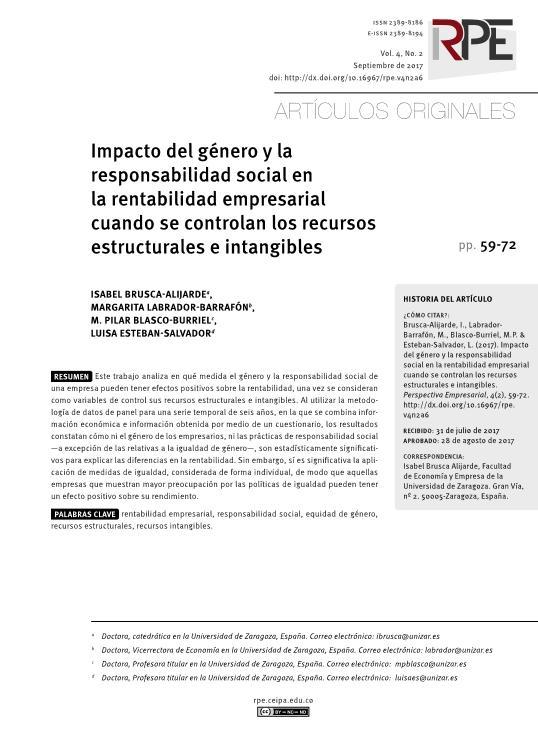 Impacto del género y la responsabilidad social en la rentabilidad empresarial cuando se controlan los recursos estructurales e intangibles