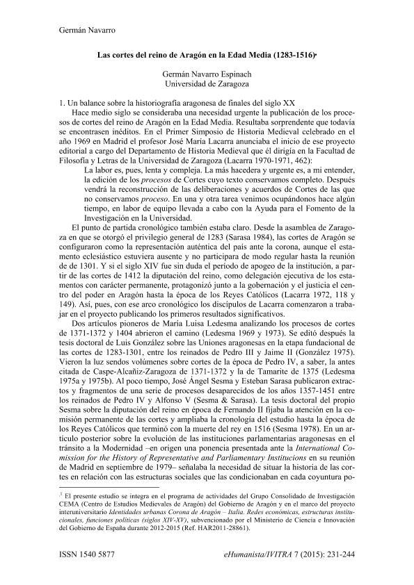 Las cortes del reino de Aragón en la Edad Media (1283-1516).