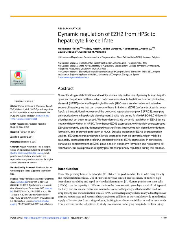 Dynamic regulation of EZH2 from HPSc to hepatocyte-like cell fate
