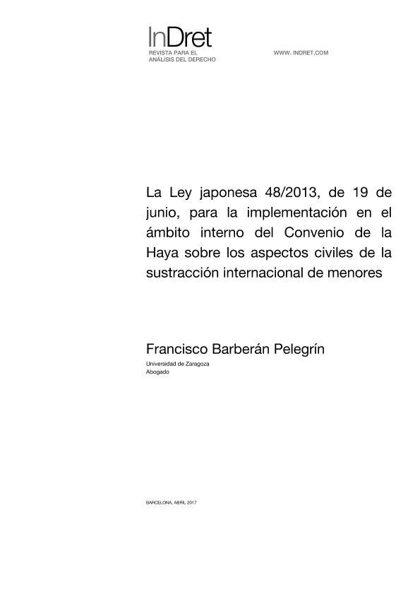 La Ley japonesa 48/2013, de 19 de junio, para la implementación en el ámbito interno del Convenio de la Haya sobre los aspectos civiles de la sustracción internacional de menores