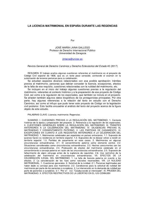 La licencia matrimonial en España durante las Regencias