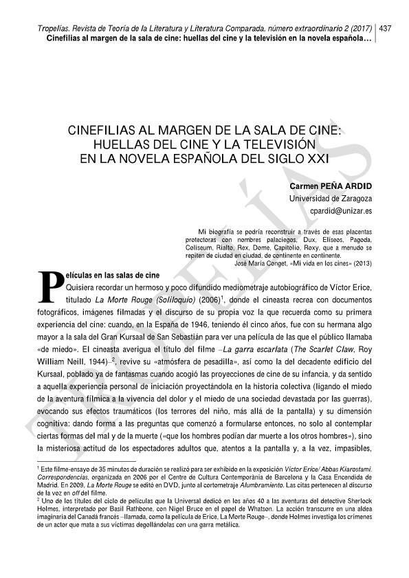 Cinefilias al margen de la sala de cine: huellas del cine y la televisión en la novela española del siglo XXI