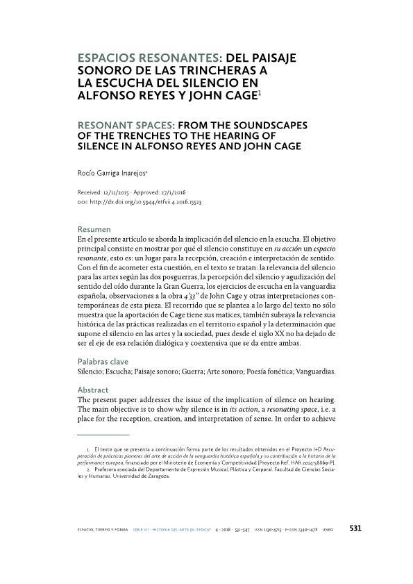 Espacios Resonantes: del paisaje sonoro de las trincheras a la escucha del silencio en Alfonso Reyes y John Cage