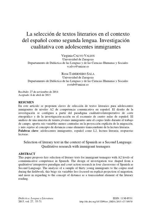 La selección de textos literarios en el contexto del español como segunda lengua. Investigación cualitativa con adolescentes inmigrantes