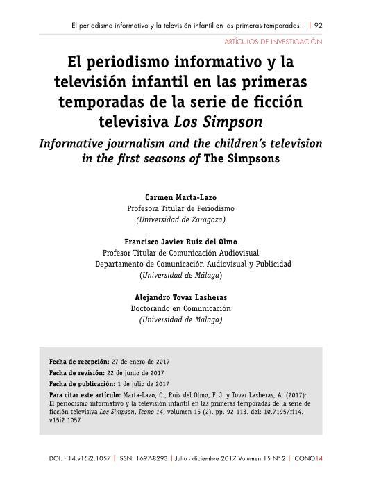 El periodismo informativo y la televisión infantil en las primeras temporadas de la serie de ficción televisiva Los Simpson