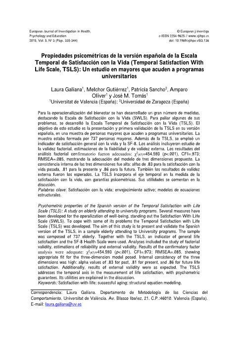 Propiedades psicométricas de la versión española de la Escala Temporal de Satisfacción con la Vida (Temporal Satisfaction With Life Scale, TSLS): Un estudio en mayores que acuden a programas universitarios