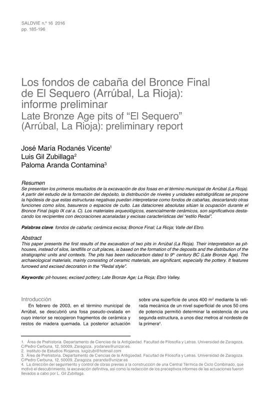 Los fondos de cabaña del Bronce Final de El Sequero (Arrúbal, La Rioja): informe preliminar