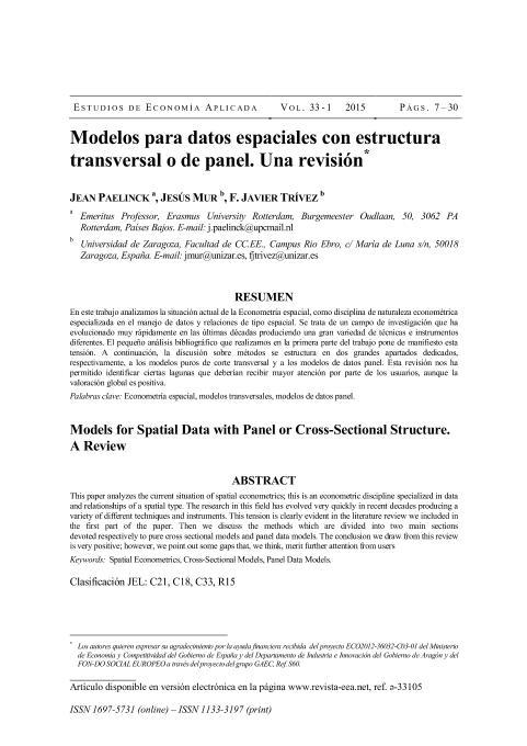 Modelos para datos espaciales con estructura transversal o de panel. Una revision