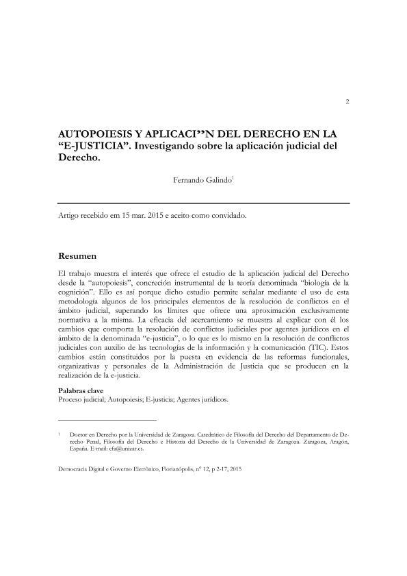"""Autopoiesis y aplicación del derecho en la """"e-justicia"""". Investigando sobre la aplicación judicial del Derecho."""