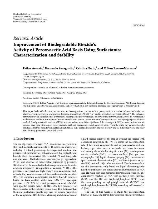 Improvement of biodegradable biocide's activity of peroxyacetic acid basis using surfactants: characterization and stability
